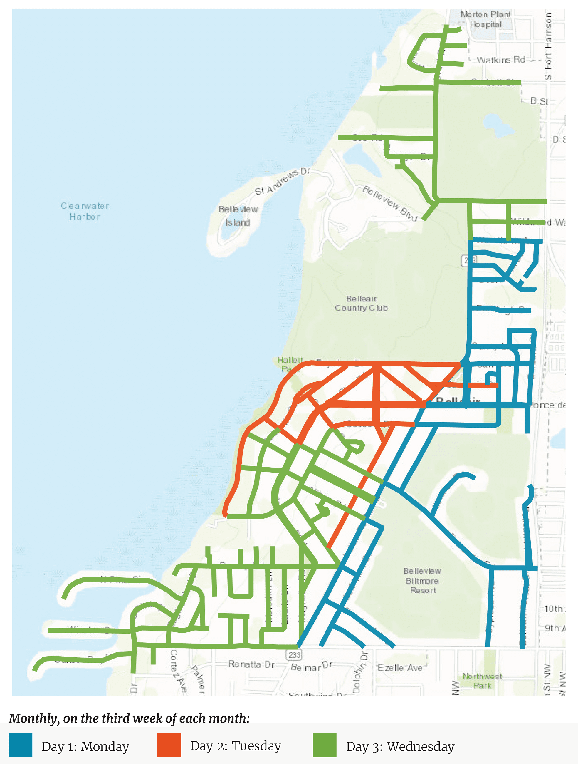 A map of Belleair that uses three colors to outline monthly street sweeping zones.