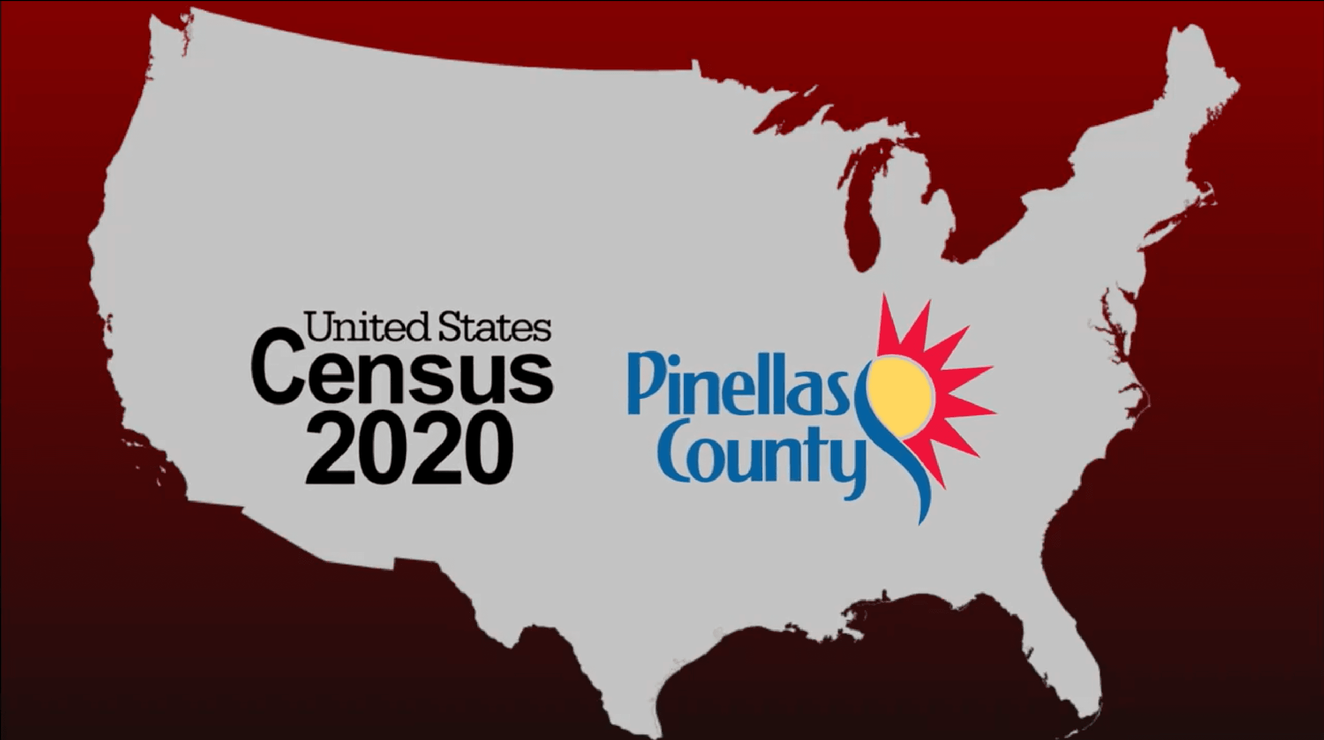 Outlined map of the United States with the text &#34United States Census 2020&#34 overtop of it, alo
