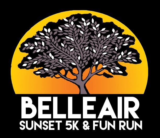 Belleair Sunset 5K & Fun Run black background logo