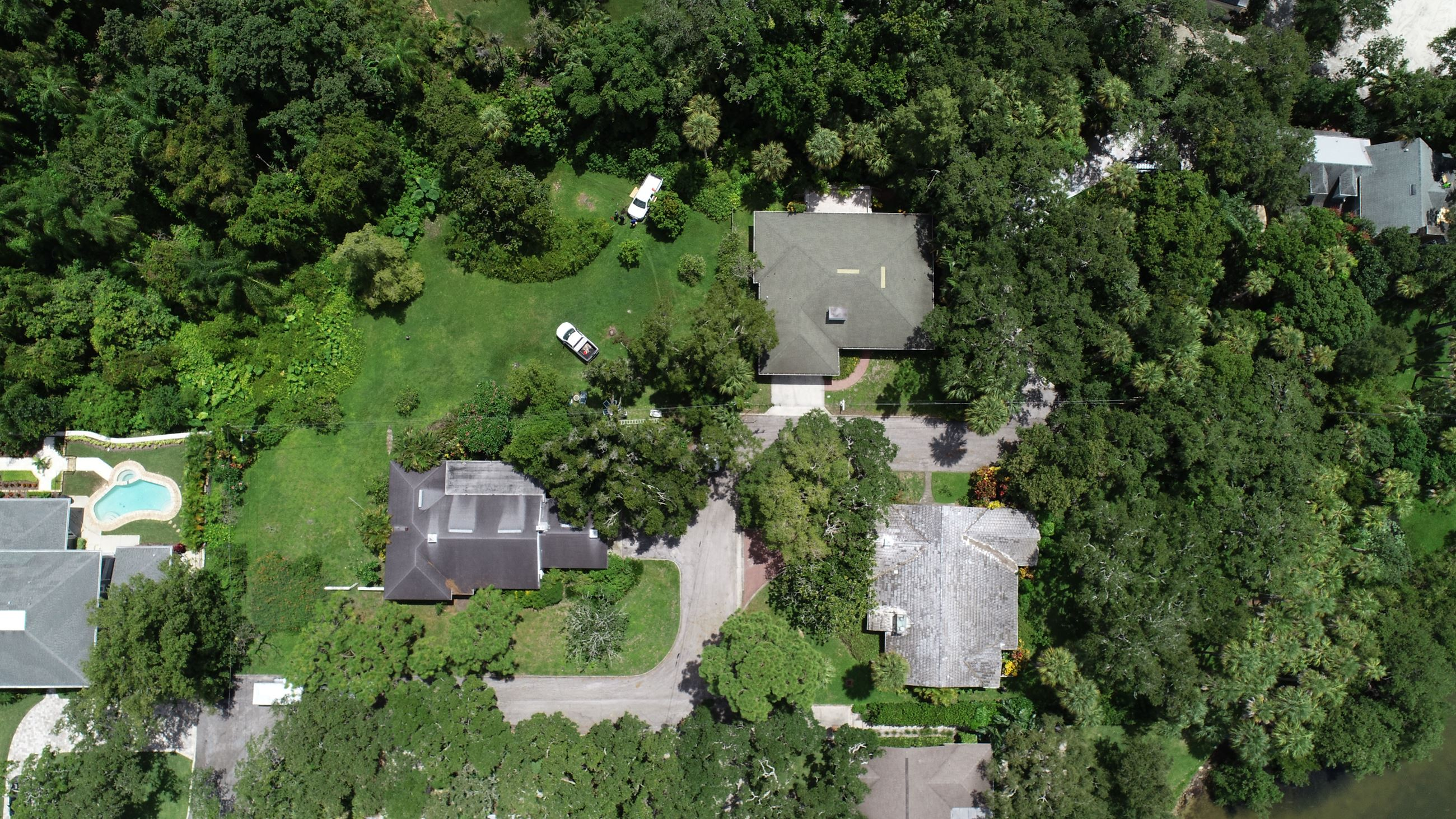 An aerial view of Mr. Ahlf's properties on Baybrook place - three houses and a large amount of gr