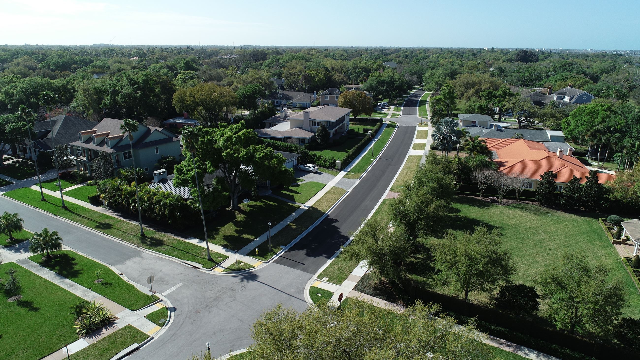 An aerial view of the completed Palmetto Road features the smooth resurfacing through the neighborho