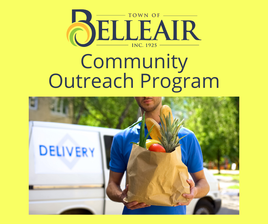 "Text reads: ""Community Outreach Program"" and features a man carrying a bag of groceries for de"