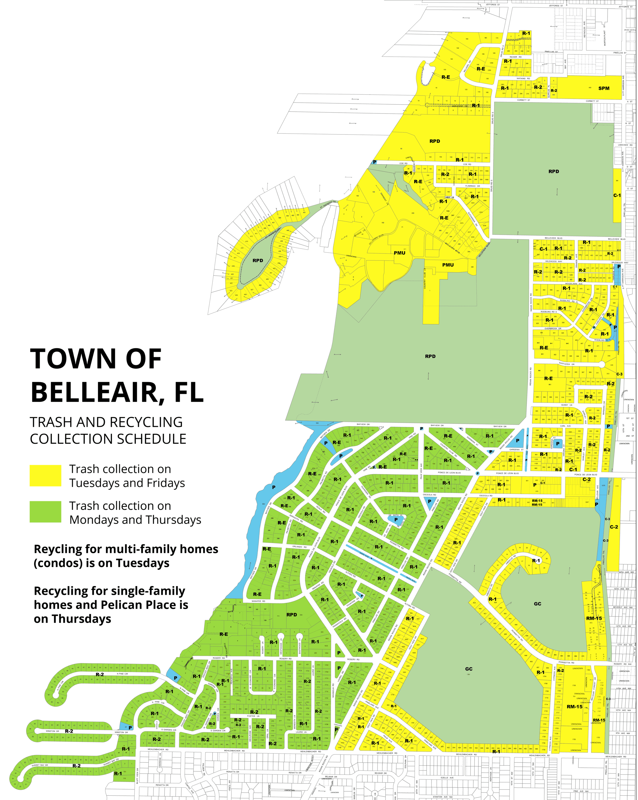 A map of the different pickup schedules for Belleair's trash and recycling. Description above.