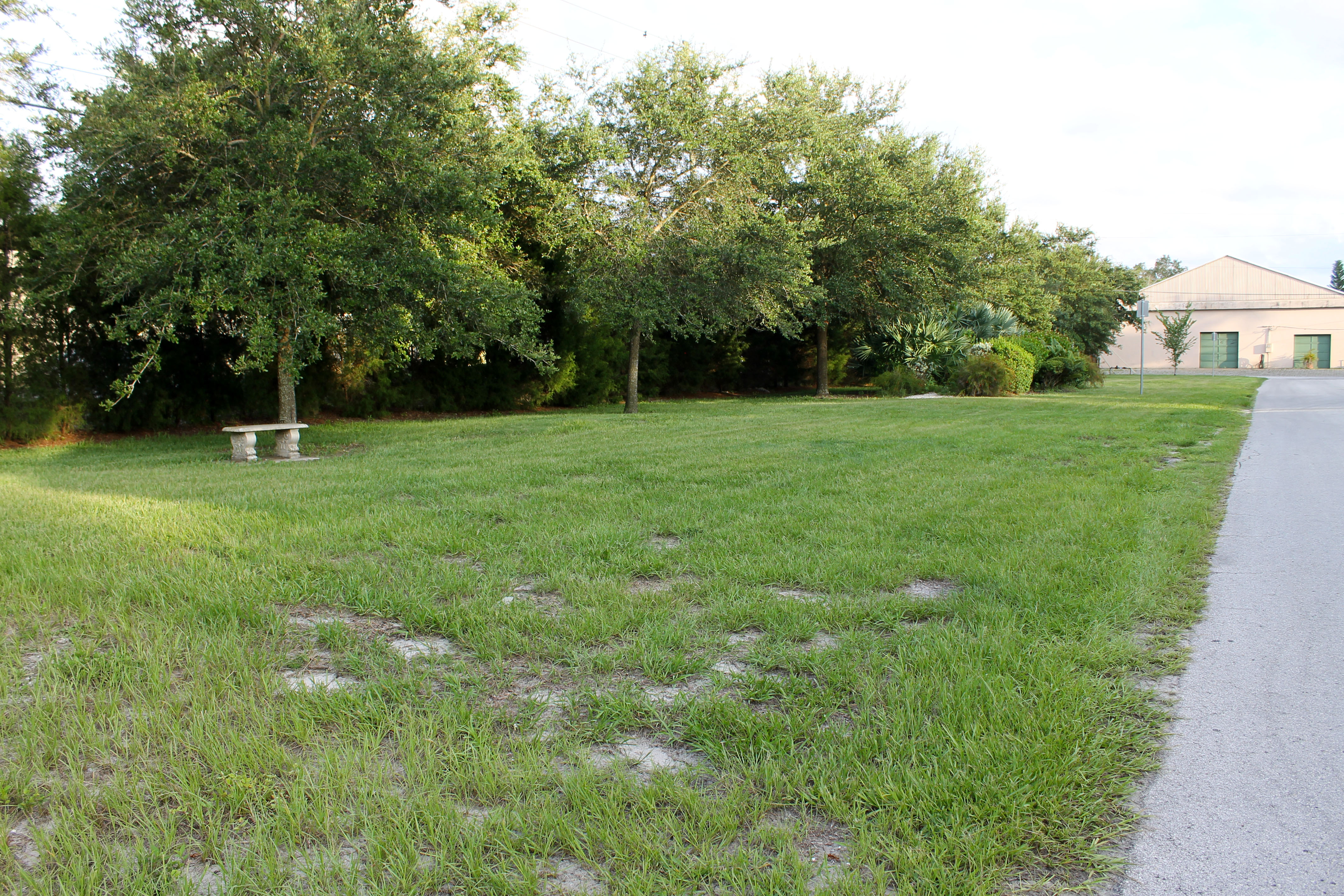 Open, grassy space in Wildwood Park with a concrete bench in the middle