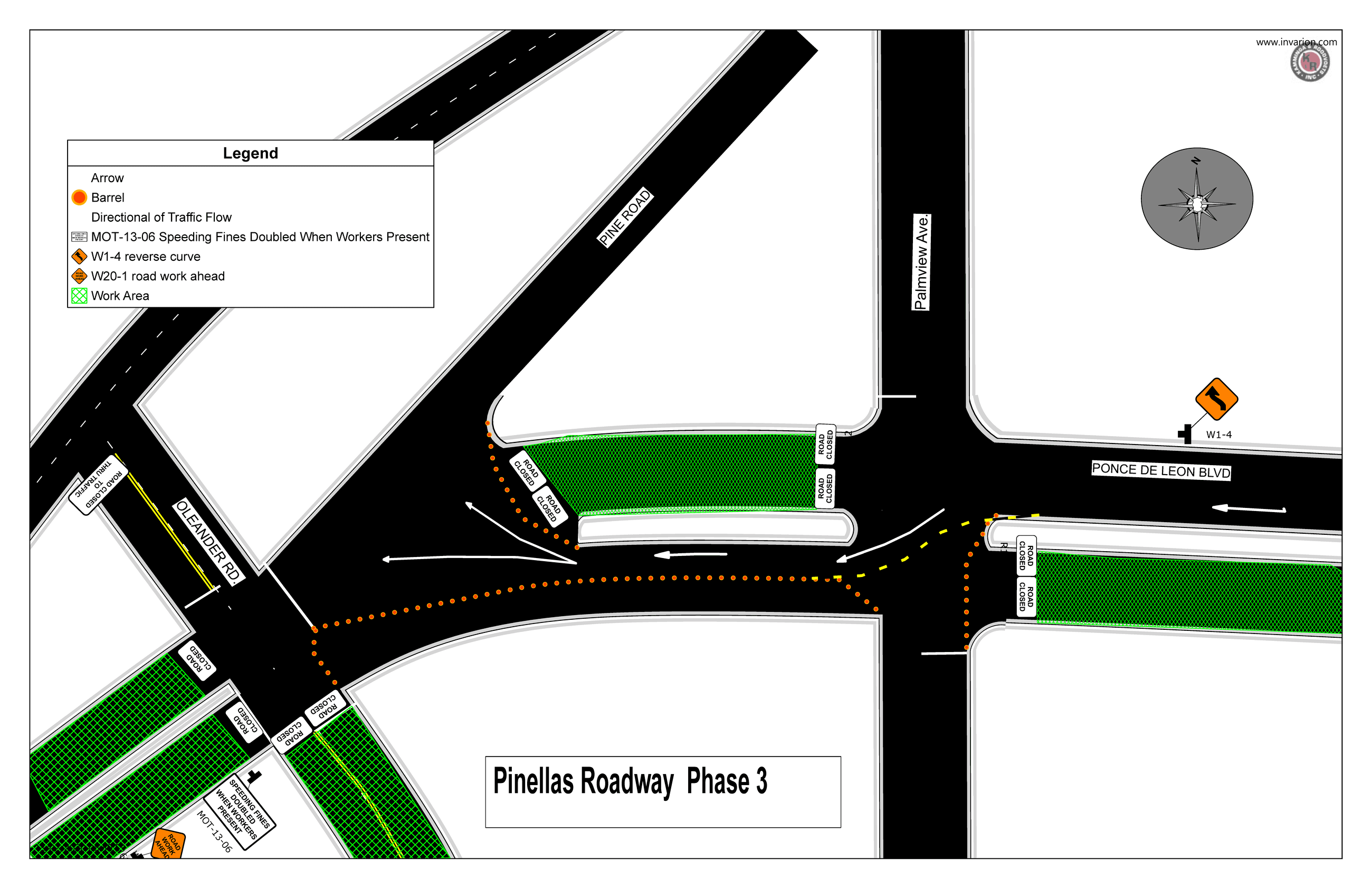 Site plan of the project outlines a new temporary road closure: the north end of Ponce between Pine
