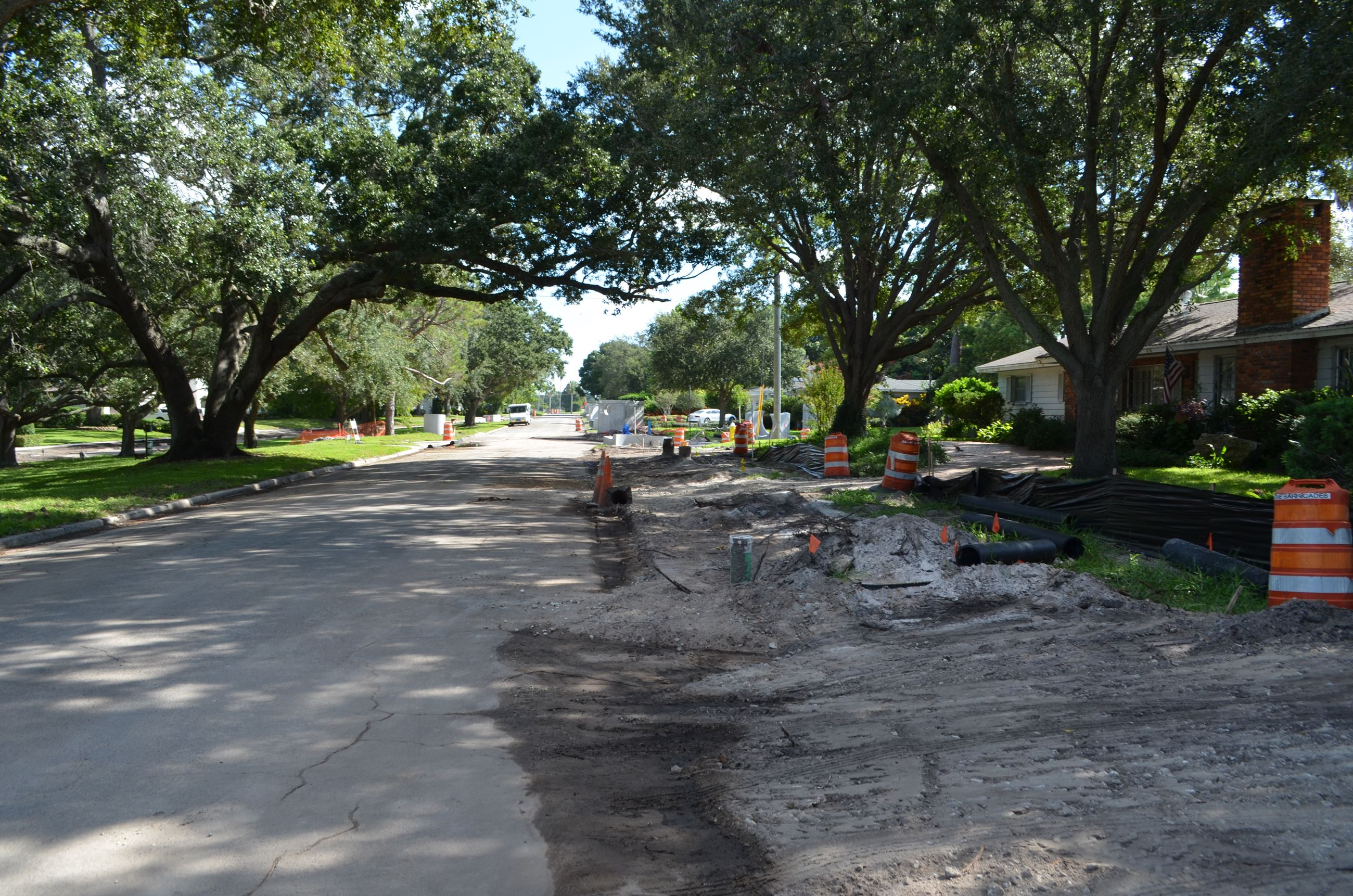 The right-of-way along Palmetto Road has been torn up so drainage lines can be added underground