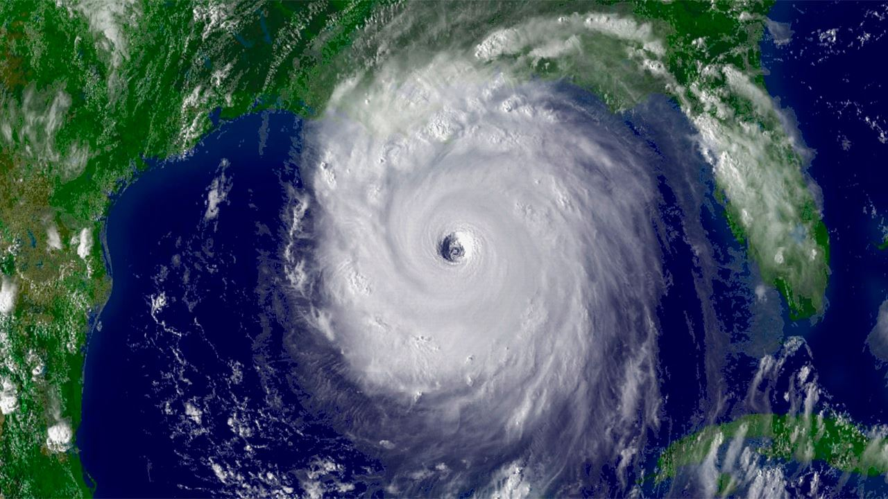A satellite image of a hurricane off of the west coast of Florida