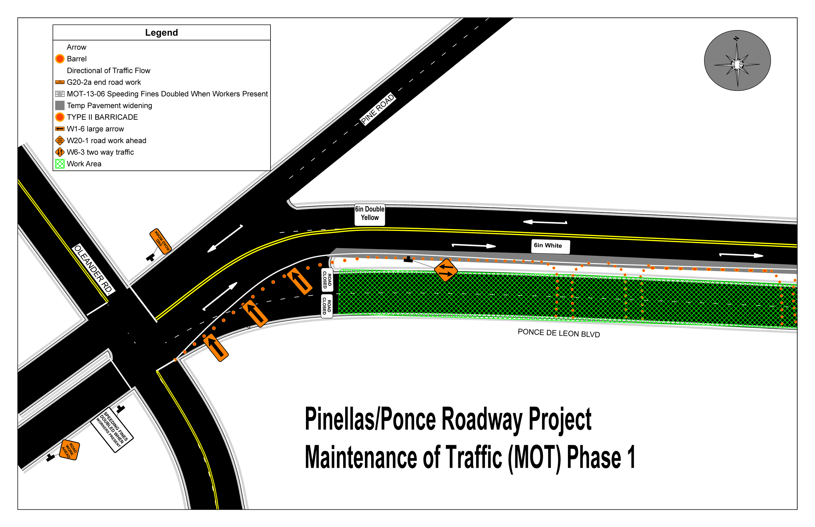Map  of Oleander, Ponce, and Pine intersection showing a closure of the south side of Ponce, east of