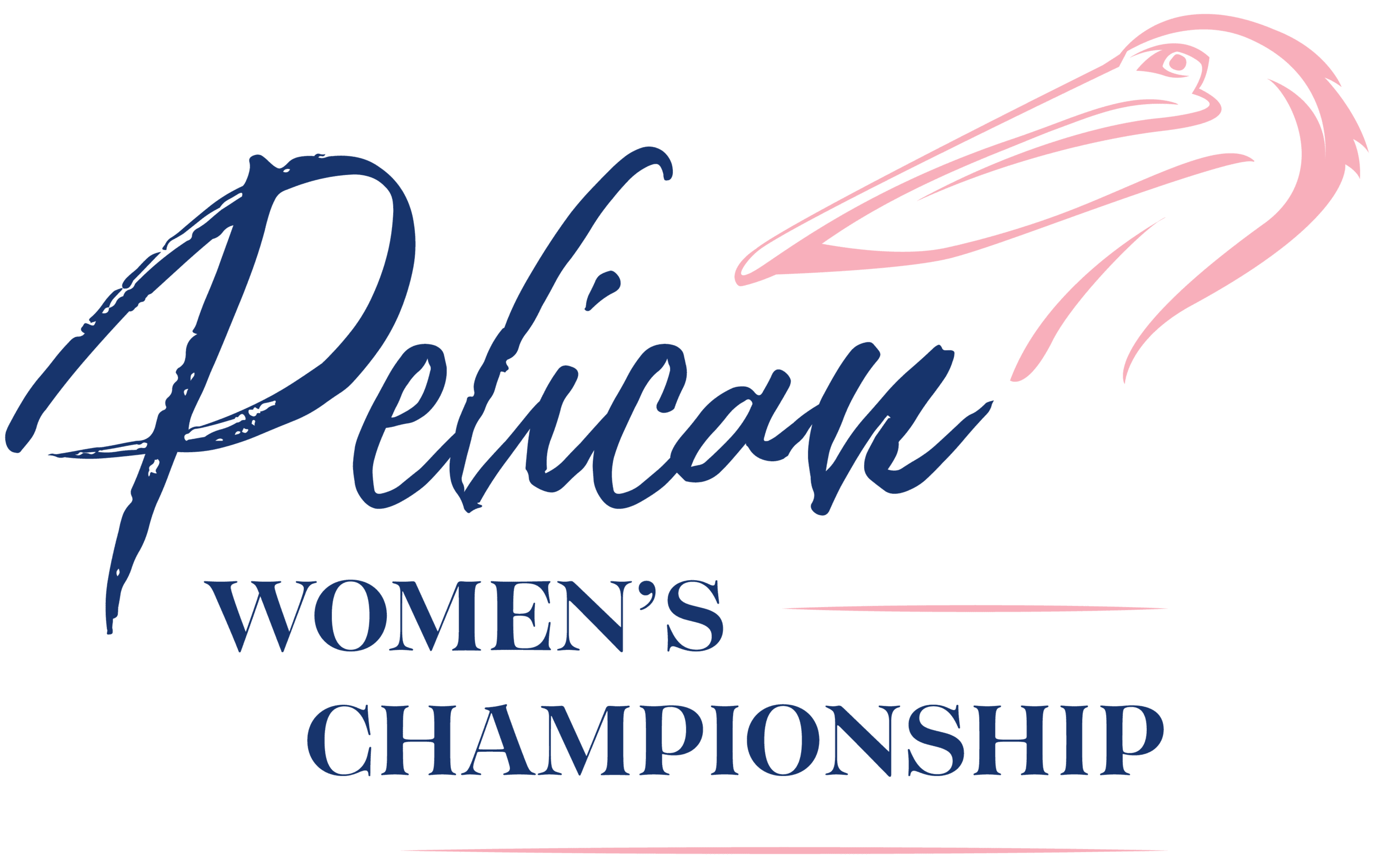 "Logo text: ""Pelican Women's Championship"" in dark blue with a pink pelican to the side"