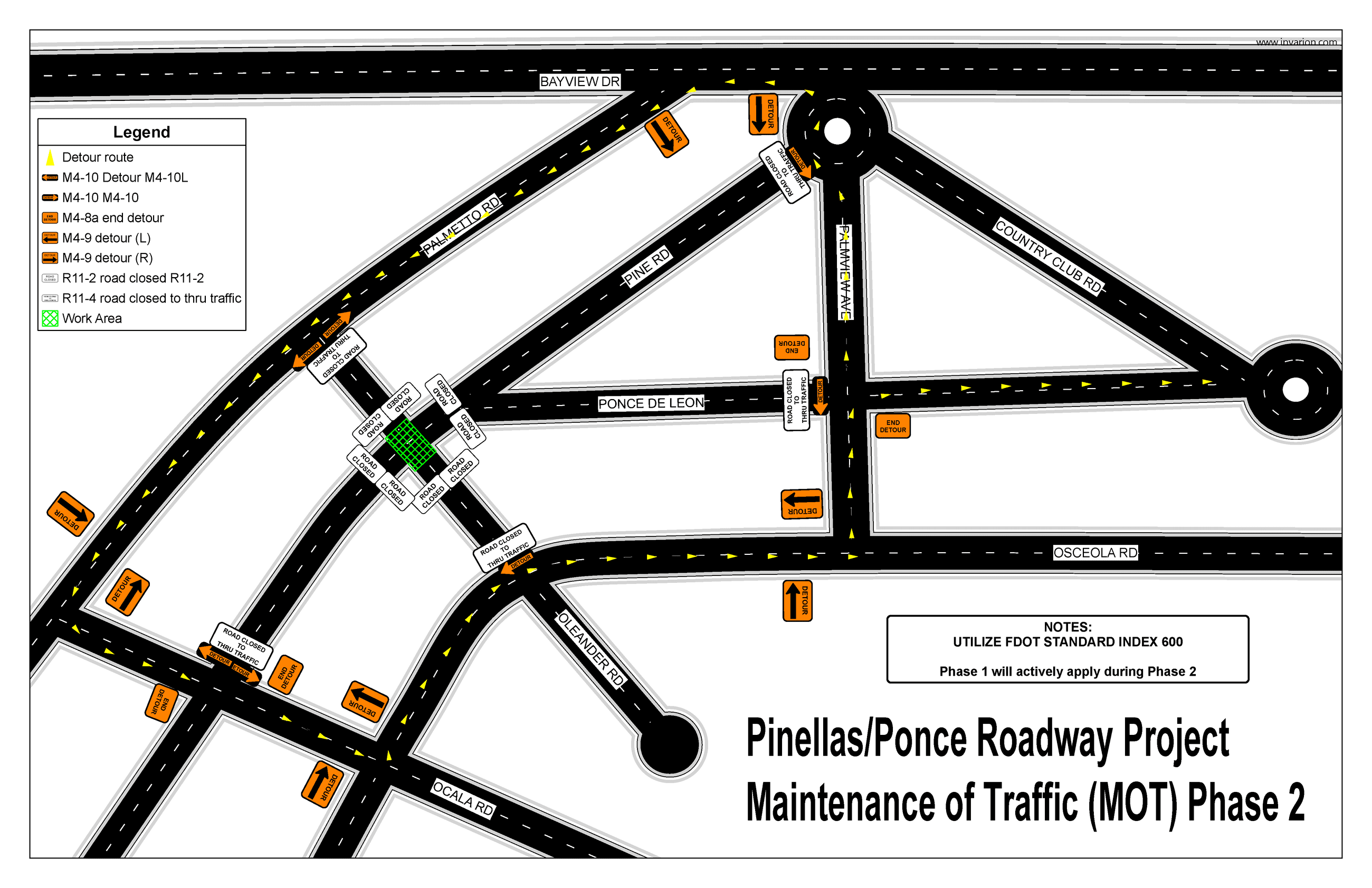 A map of the project scope that shows a closure of the Ponce and Oleander intersection and available